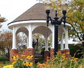 Gazebo at corner of Main Street and Hough Street in downtown Barrington in autumn