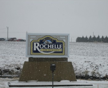 Sign seen entering the city of Rochelle