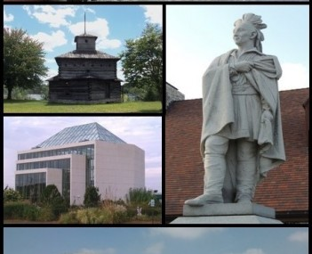 Clockwise from top: Lock and Dam No. 15, statue of Black Hawk, Rock Island Centennial Bridge, Quad City Botanical Center, replica of a Fort Armstrong blockhouse.