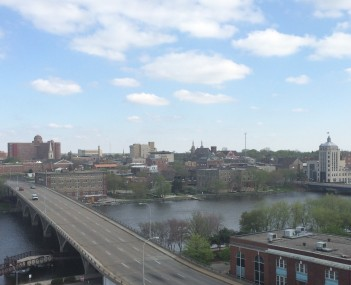 Downtown Rockford including the Rock River and the Jefferson Street Bridge