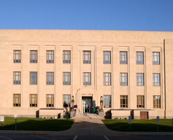 The Art Deco Howard County courthouse. Part of the Courthouse Square Historical District, which is one of the places in Kokomo on the National Register of Historic Places.