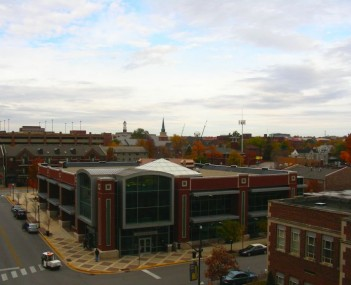 West Lafayette Public Library, with Purdue campus skyline in background