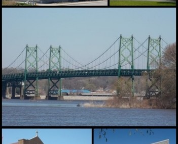 Top: Quad Cities Waterfront Convention Center, Bettendorf House, Middle: I-74 Bridge, Bottom: The Abbey Center, The Family Museum.