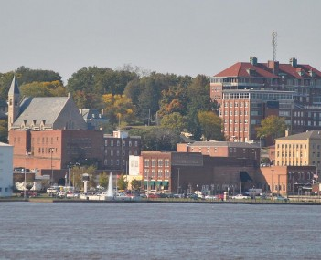 Skyline of Burlington from Mississippi River