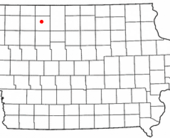 Location of Emmetsburg, Iowa