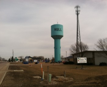 Water tower located in the Hull  Industrial Park just off US Highway 18.