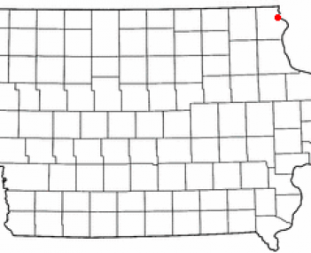 Location of Lansing, Iowa