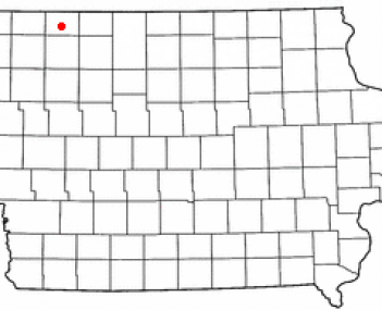 Location of Milford, Iowa