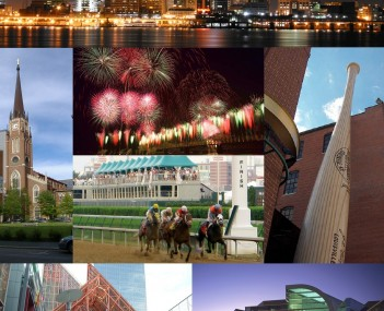 From top: Louisville downtown skyline at night, Cathedral of the Assumption, Thunder Over Louisville fireworks during the Kentucky Derby Festival, Kentucky Derby, Louisville Slugger Museum & Factory, Fourth Street Live!, The Kentucky Center for the Perfor