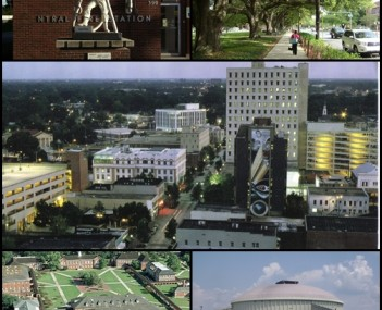 From upper left: Statue in front of downtown fire station, oak-lined street in the University district, Downtown Lafayette, Cajundome, and University of Louisiana at Lafayette quad.