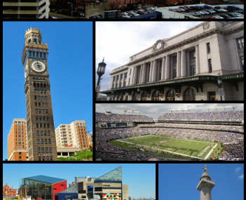 Downtown Baltimore, Emerson Bromo-Seltzer Tower, Pennsylvania Station, M&T Bank Stadium, , Inner Harbor and the National Aquarium in Baltimore, Baltimore City Hall, Washington Monument