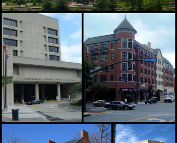 Downtown Rockville in 2001, the Montgomery County Judicial Center in 2010, the Rockville Town Square in 2010, the Beall-Dawson House in 2005, and downtown Rockville in 2008.