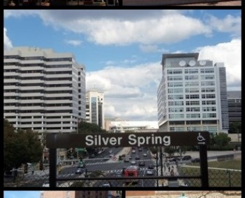 Clockwise from top: AFI Silver, Veteran's Plaza and the civic building, Downtown Silver Spring from the Metro station, Acorn Park, Baltimore and Ohio Railroad Station.