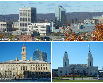 Skyline of Worcester, Union Station and City Hall