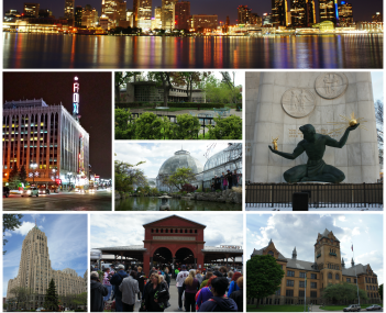 From top to bottom, left to right: Downtown Detroit skyline and the Detroit River, Fox Theatre, Dorothy H. Turkel House in Palmer Woods, Belle Isle Conservatory, The Spirit of Detroit, Fisher Building, Eastern Market, Old Main at Wayne State University, A