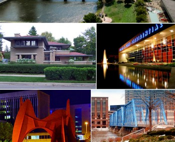 Images from top to bottom, left to right: downtown cityscape, Meyer May House, Gerald R. Ford Presidential Museum,