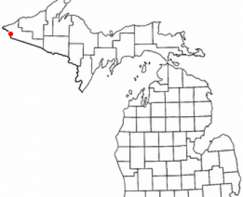 Location of Ironwood, Michigan