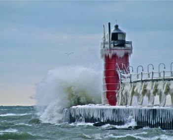 South Haven Lighthouse, seen in winter