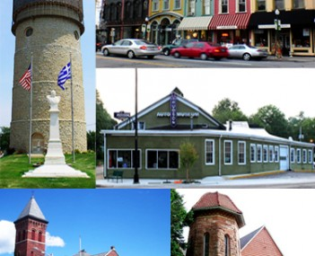 Images from top to bottom, left to right: Ypsilanti Water Tower, Depot Town/Sidetrack Bar & Grill, Ypsilanti Automotive Heritage Museum, Michigan Firehouse Museum, and Eastern Michigan University's Starkweather Hall