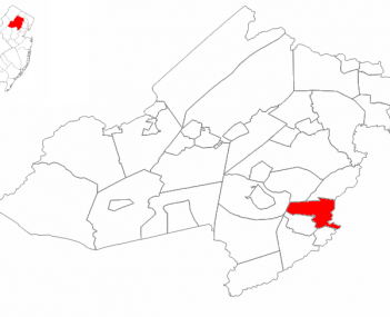 Map highlighting Florham Park's location within Morris County. Inset: Morris County's location within New Jersey