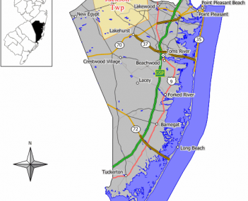 Map of Jackson Township in Ocean County. Inset: Location of Ocean County highlighted in the State of New Jersey.
