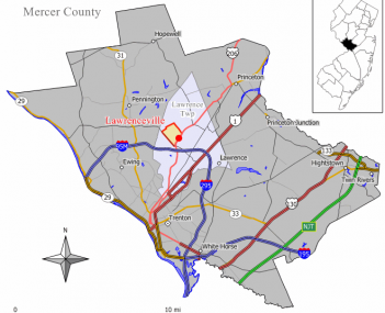Map of Lawrenceville CDP in Mercer County. Inset: Location of Mercer County in New Jersey.