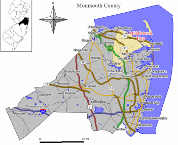 Map of Middletown Township in Monmouth County. Inset : Monmouth County highlighted within New Jersey.