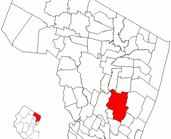 Map of Bergen County highlighting Teaneck