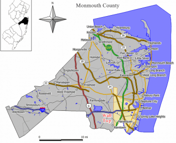 Map of Wall Township in Monmouth County. Inset: Location of Monmouth County highlighted in the State of New Jersey.
