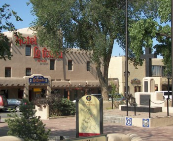 Taos Plaza and the Hotel La Fonda, within the Taos Downtown Historic District