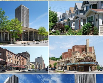 Clockwise from top: Albany skyline from Rensselaer; middle-class housing in the Helderberg neighborhood; Palace Theatre; Empire State Plaza from the Cultural Education Center; North Pearl Street at Columbia Street; and the State Quad at SUNY Albany.