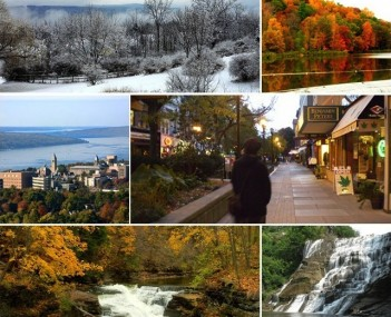 From top left: Ithaca during winter, Ithaca during autumn, Cornell University, Ithaca Commons , Hemlock Gorge in Ithaca, Ithaca Falls
