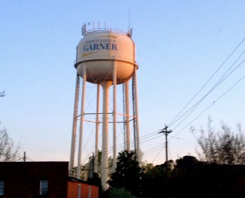 Water tower over Main Street, Garner