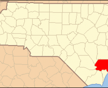 North Carolina Map Highlighting Pender County