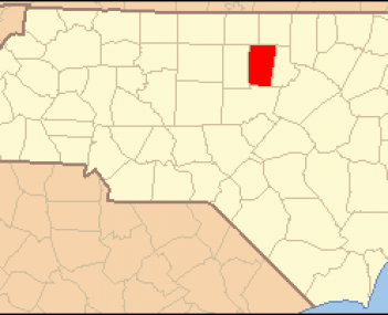 North Carolina Map Highlighting Orange County