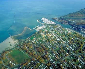 Aerial view of the port at Conneaut
