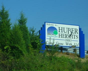 Huber Heights welcome sign with the phrase,