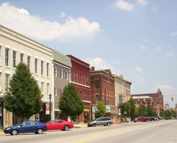 Uptown Norwalk, looking east on West Main Street