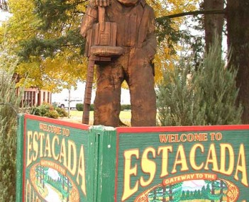 Sculpture in front of City Hall in downtown Estacada