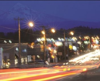 NW Burnside at night in Gresham