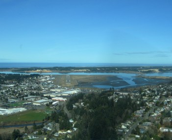 North Bend from above, looking toward the Pacific Ocean