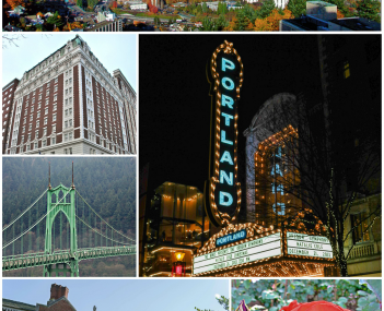Clockwise: Aerial view from Southwest Portland; the St. Johns Bridge; the International Rose Test Garden; Reed College; MAX Light Rail stop; the Arlene Schnitzer Concert Hall; the Benson Hotel