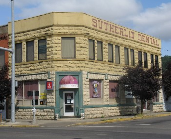 The historic Sutherlin Bank Building , located at 101 West Central Avenue in Sutherlin