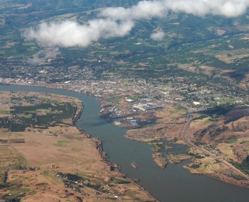 Aerial view of The Dalles from the Washington side of the Columbia River