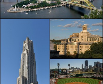 Clockwise: Cathedral of Learning at the University of Pittsburgh; Pittsburgh skyline; Carnegie Mellon University; PNC Park; Duquesne Incline