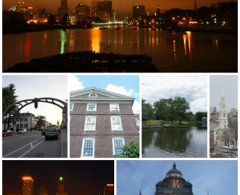 From top left: Downtown Providence skyline and the Providence River from the Point Street Bridge, Federal Hill, University Hall at Brown University, Roger Williams Park, the First Baptist Church in America, WaterFire at Waterplace Park, and the Rhode Isla