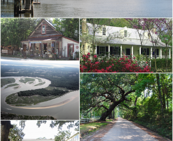 Clockwise from top: the May River, the Heyward House, a gravel path, CareCore Dr, a Post Office, Myrtle Island, and The Store