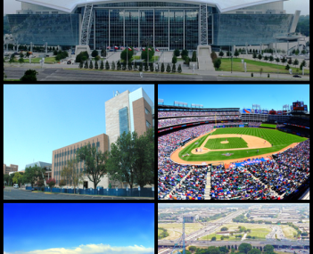 Images from top, left to right: AT&T Stadium, The University of Texas at Arlington, Globe Life Park in Arlington, Lake Arlington, Six Flags Over Texas