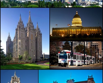 Clockwise from top: The skyline in July 2011, Utah State Capitol, TRAX, Union Pacific Depot, the Block U, the City and County Building, and the Salt Lake Temple.