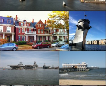 Clockwise from top: Downtown Norfolk skyline as viewed from across the Elizabeth River,  battleship museum, Ocean View Pier, The Tide light rail, ships at Naval Station Norfolk, historic homes in Ghent